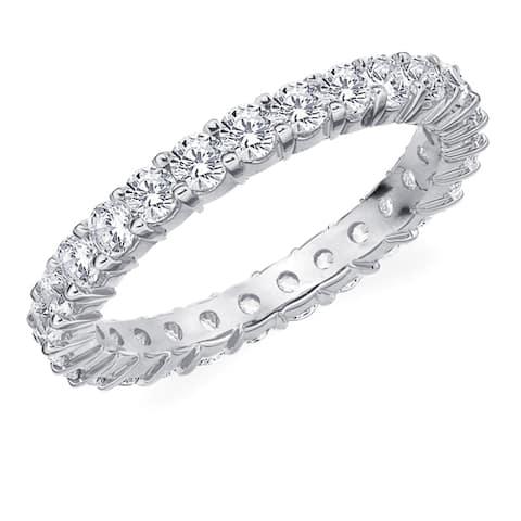 Amore 10K White Gold 1.50 CTTW Eternity Shared Prong Diamond Wedding Band