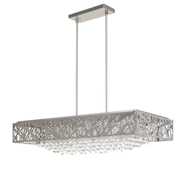Chrome and Crystal Square Chandelier
