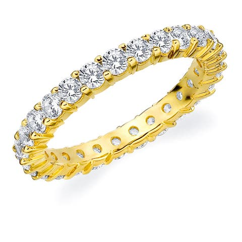 Amore 10K Yellow Gold 1.50 CTTW Eternity Shared Prong Diamond Wedding Band