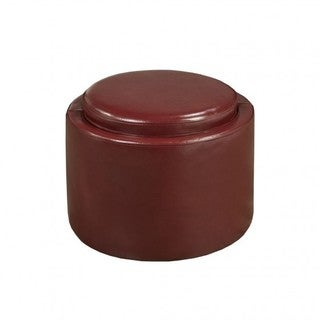 Brassex Red Faux Leather Storage Ottoman with Reverse Tray