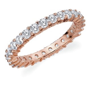 Amore 10K Rose Gold 1.50 CTTW Eternity Shared Prong Diamond Wedding Band