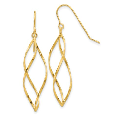 14K Yellow Gold High Polished Swirl Dangle Earrings by Versil