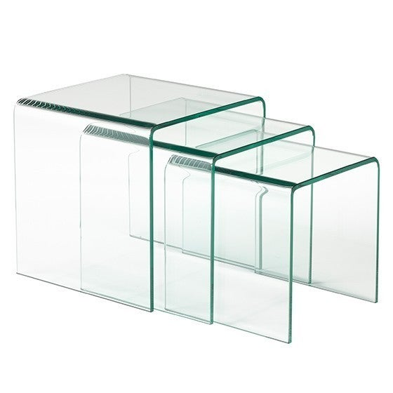 Brex 3 Piece Nesting Table Set Clear Bent Gl