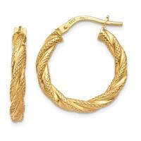 14 Karat Twisted Textured Hoop Earrings