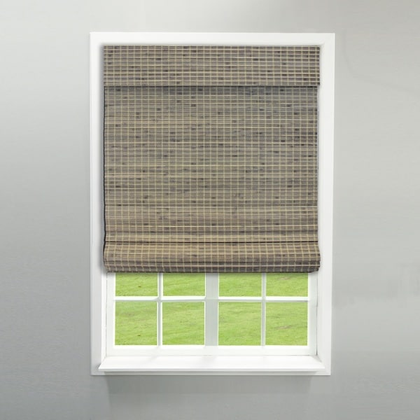 Radiance Cordless Privacy Weave Driftwood Bamboo Roman Shade