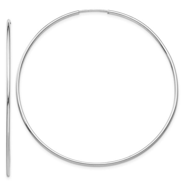 14K White Gold Polished 59mm Endless Hollow Tube Hoop Earrings by Versil