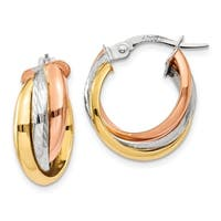 14 Karat Tri-color Polished Post Hoop Earring