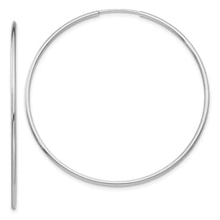 Link to 14K White Gold Polished 47mm Endless Hollow Tube Hoop Earrings by Versil Similar Items in Earrings