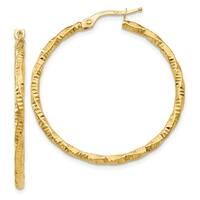 14 Karat Polished and Textured Hoop Earrings