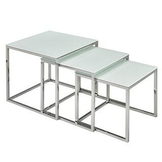 Brassex 3-Piece Nesting Table Set, White