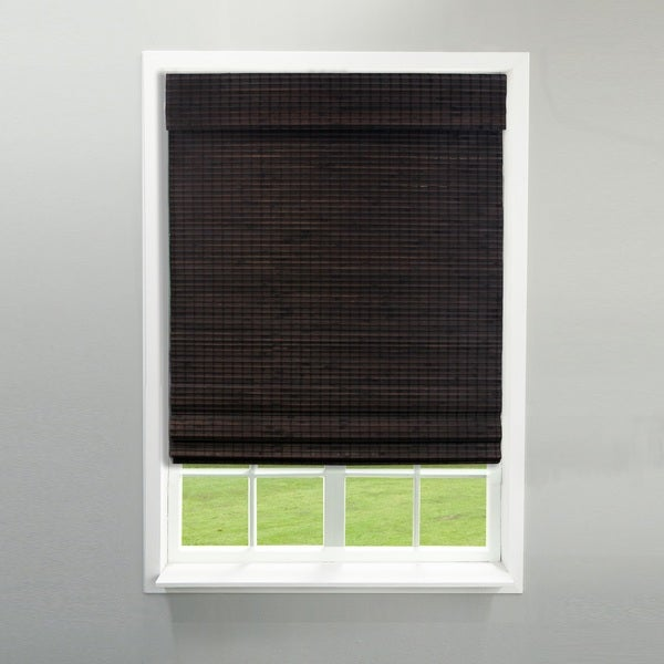 Radiance Cordless Privacy Weave Espresso Bamboo Roman Shade