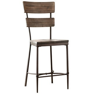 Hillsdale Furniture Jennings Non-Swivel Counter Stool Set of 2 in Distressed Walnut Finished Wood with Brown Metal