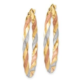14K Two-tone Rhodium-plated Satin Twisted Hoop Earrings by Versil