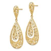 14 Karat Gold Polished Diamond Cut Teardrop Dangle Post Earrings