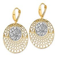 14 Karat Two-tone Polished and Diamond-cut Round Leverback Earrings