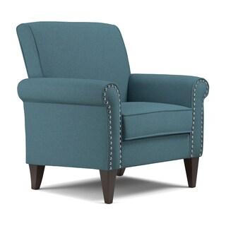 Handy Living Jean Caribbean Blue Linen Arm Chair