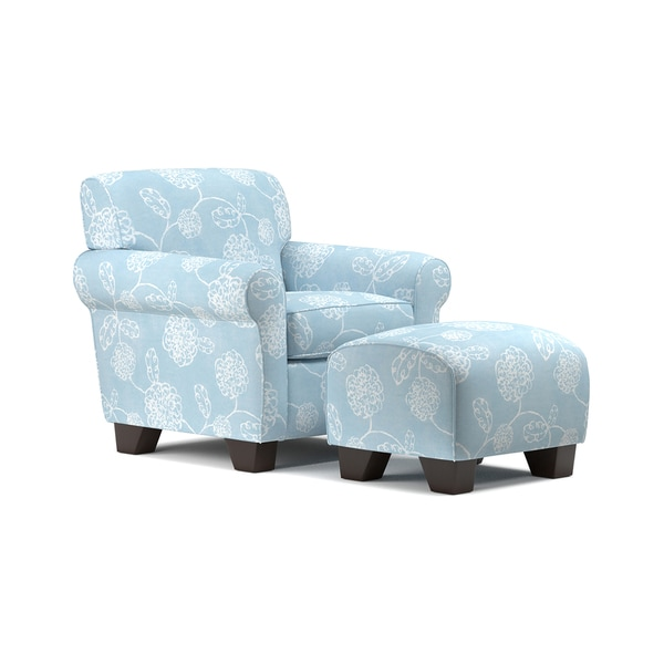 Handy Living Winnetka Blue Floral Arm Chair And Ottoman Set