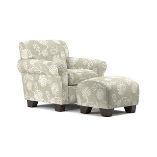 Handy Living Winnetka Taupe Floral Arm Chair and Ottoman Set
