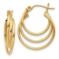 14 Karat Triple Hoop Earrings