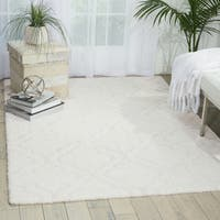kathy ireland Light & Airy White Shag Area Rug by Nourison - 5' x 7'
