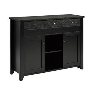 Brassex Buffet / Server with Side Extension, Black