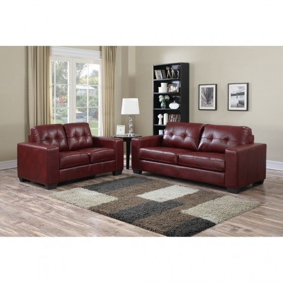 Brex Metro Burgundy Leather Sofa Free Shipping Today 16279022