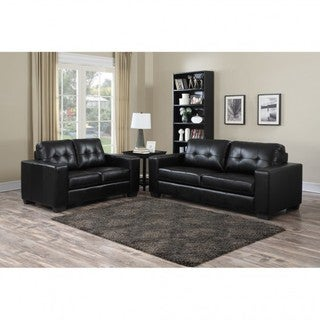 Brassex Metro Black Leather Sofa