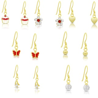 Link to Molly and Emma Set of 7 Gold over Sterling Silver Cubic Zirconia Dangle Earrings Similar Items in Children's Jewelry
