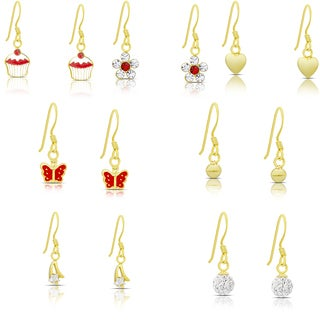 Molly and Emma Set of 7 Gold over Sterling Silver Cubic Zirconia Dangle Earrings