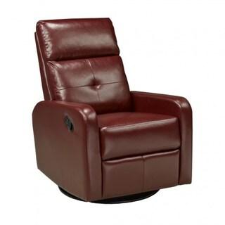 Shop Brassex Red Faux Leather Swivel Rocker Recliner
