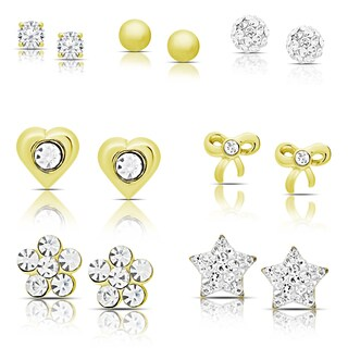 Molly and Emma Set of 7 Gold over Sterling Silver Cubic Zirconia Stud Earrings