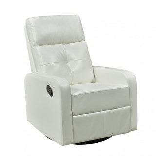 Brassex White Recliner with Swivel and Rocker