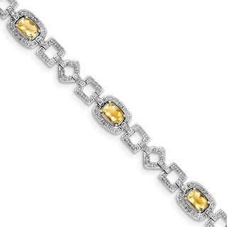 Sterling Silver Rhodium-plated Diamond & Citrine Bracelet