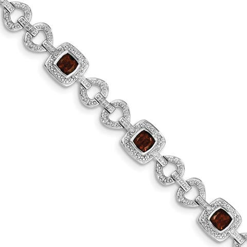 Versil Sterling Silver Rhodium-plated Diamond and Garnet Bracelet