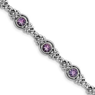 Sterling Silver Rhodium-plated Amethyst Bracelet by Versil