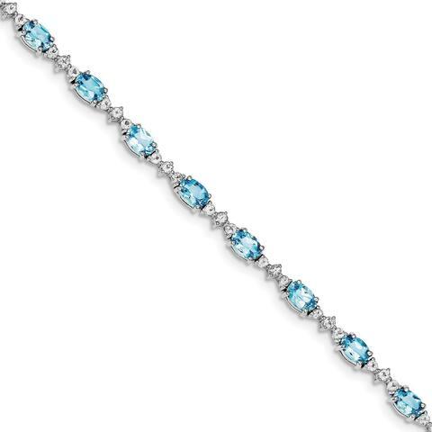 Versil Sterling Silver Rhodium-plated Blue Topaz Bracelet