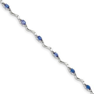 Sterling Silver Rhodium Plated Diamond and Tanzanite Bracelet