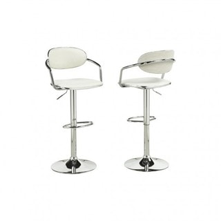 Brassex Adj.Bar Stool (Set of 2), White