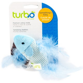 "Turbo Random Fun Cat Toy-Feather Fish - 5.25"""