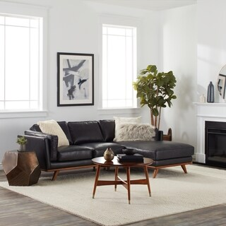 Del Ray Leather Sectional in Oxford Black