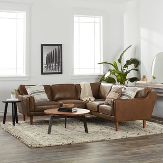 Beatnik Leather Sectional in Oxford Tan