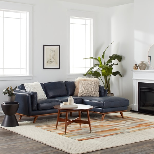 Del Ray Leather Sectional in Oxford Blue