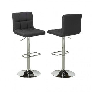 Brassex Adj.Bar Stool (Set of 2), Black