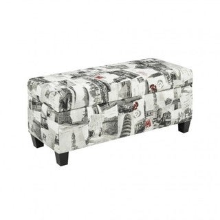 Brassex Storage Ottoman with Storage, City Printed Fabric