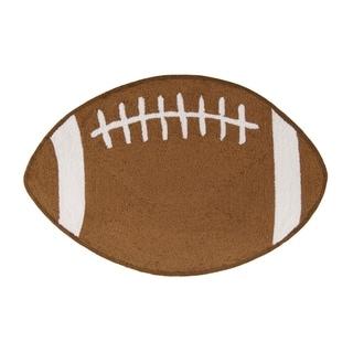 Hooked Football Brown Acrylic Rug (2' x 3')