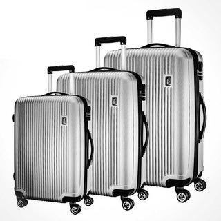 American Traveler Silver Striped 3-piece Lightweight Anti-scratch Hardside Spinner Luggage Set