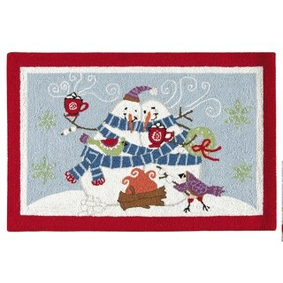 Hooked Toasty Wishes Snowman Red Wool Rug (2' x 3')