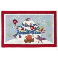 Toasty Wishes Snowman Wool Hooked Rug  (2' x 3') - 2' x 3'