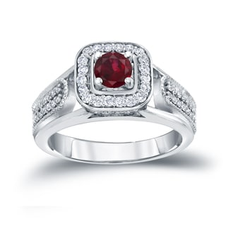 Auriya 14k Gold 1/6ct Ruby and 1/3ct TDW Diamond Engagement Ring (H-I, I1-I2)