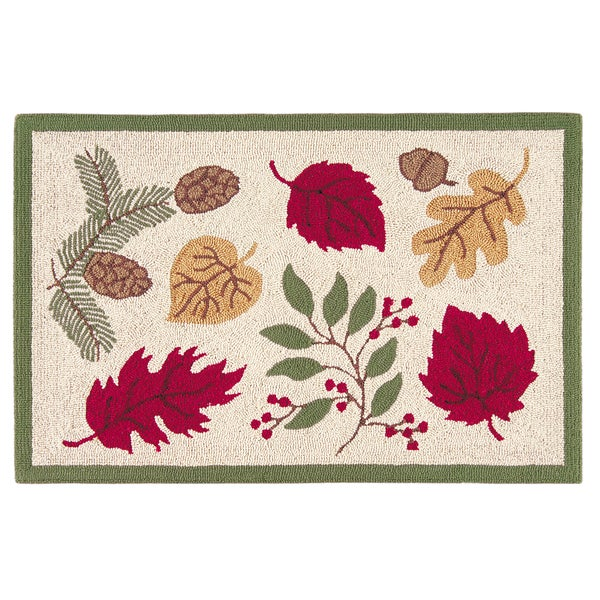 Hooked Tossed Leaves Red Acrylic Rug (2' x 3')